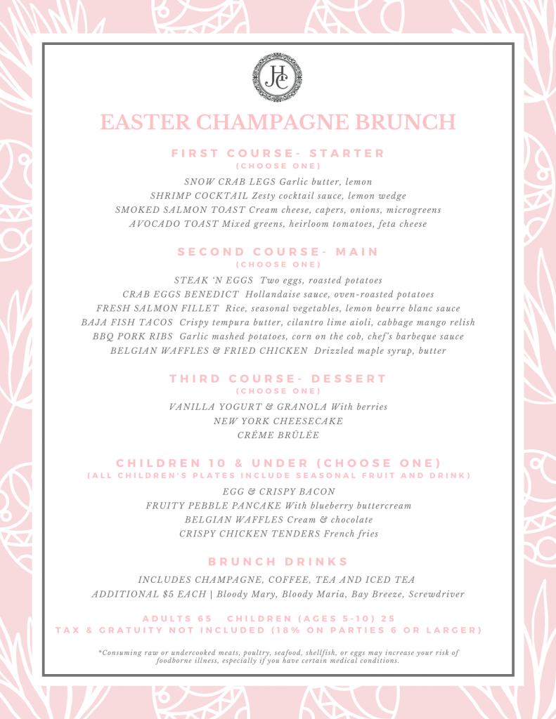 Easter Champagne Brunch Menu
